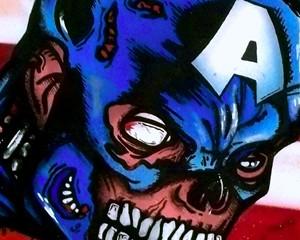 CaptainAmerica ( Zombie version ) 40 x 40 cm – Aérosol/POSCA/Huile sur toile