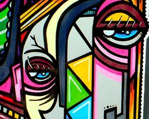 « Cubist Queen » 65×50 cm – Aérosol/Posca sur Canson